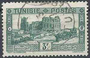 FRANCE-COLONY-TUNISIA-NO-177-OBLITERATION-STAMP-DATED-SIDE