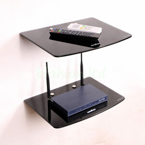 2 TIER DUAL GLASS SHELF WALL MOUNT UNDER TV CABLE BOX