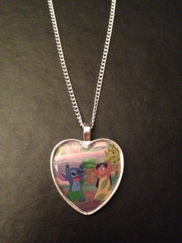 Collar Colgante de Corazón de Plata Chapado Disney Lilo y Stitch