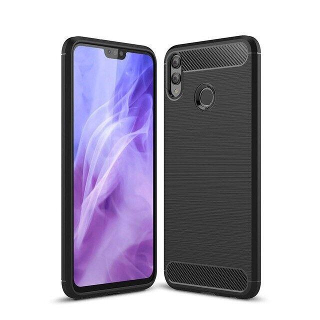 online store 92ea4 9fc2f for Huawei Honor 8x Case Carbon Fibre GEL Cover Ultra Slim Black Shockproof