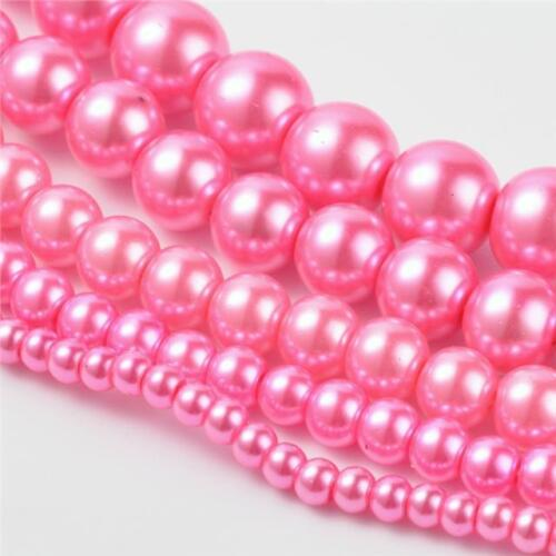 200 Top Qualité Rose chaud mixte taille ronde en verre perle perles 4 mm 6 mm 8 mm 10 mm 12 m