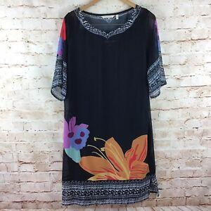 Soft-Surroundings-Womens-Floral-Short-Sleeve-Hibiscus-Dress-Size-Medium