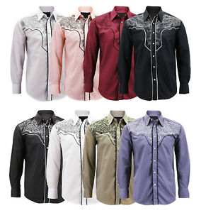 Men-s-Western-Rodeo-Style-Cowboy-Embroidered-Tribal-Print-Dress-Shirt