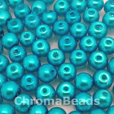 6mm Glass faux Pearls - Caribbean Blue - 100 beads, jewellery making