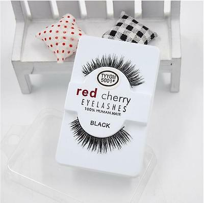 Lashes 100% False Human Hair Eyelashes Makeup Eye Red Cherry Adhesives Handmade