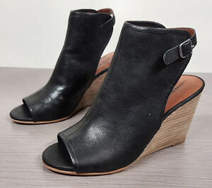 746c632ad6c Lucky Brand 'Risza' Open Toe Wedge Bootie Black Leather Womens Size ...