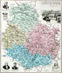 Carte Ancienne- Cote D'or (vue & Armes De Dijon)- Bossuet, Monge, Carnot, Buffon