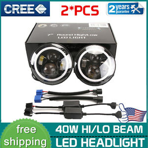 2X-7-034-Inch-40W-Round-LED-Headlights-Halo-Angle-Eyes-For-Jeep-Wrangler-JK-LJ-TJ-CJ