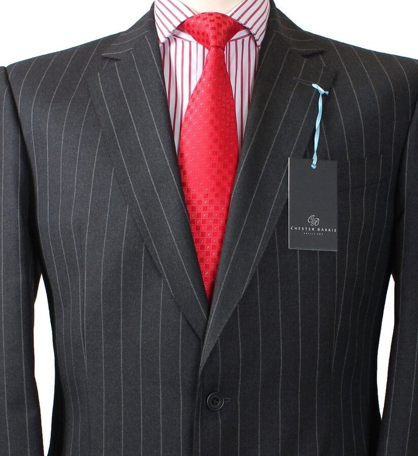 Chester Barrie SAVILE ROW Charcoal Grau Striped Suit & CB Suit Bag UK42 IT52 NWT