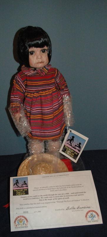 World Gallery Chaya By Bella Bambina Porcelain Doll 20  Tall NIB  COA
