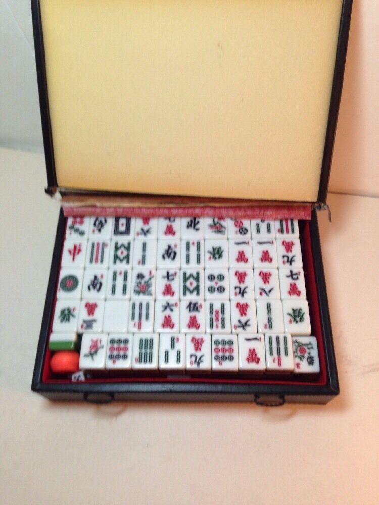 Vintage Mahjong Set jeu de 148 Tuiles Mah  Jong 4 Dice vert bas assortis Jeu  haute qualité