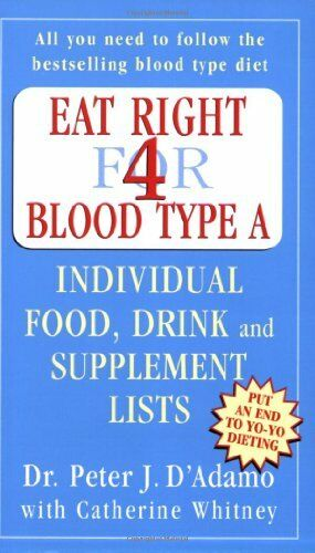 Eat Right for Blood Type A: Individual Food, Drink and Suppleme .9780141014807