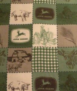 New JOHN DEERE Hand Made Fleece Blanket with a DARK GREEN Crocheted Border