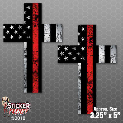 Delaware Thin Red Line Clean State Firefighter Fire Subdued flag vinyl 2 Pack