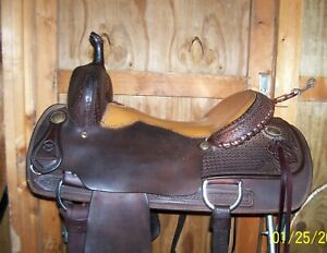 15.5 16.25 HH Used Cutting Pleasure Trail Saddle breast collar pad new lead rope
