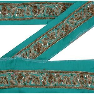 Sanskriti Vintage Green Sari Border Hand Beaded Indian Craft Trim Ribbon Lace