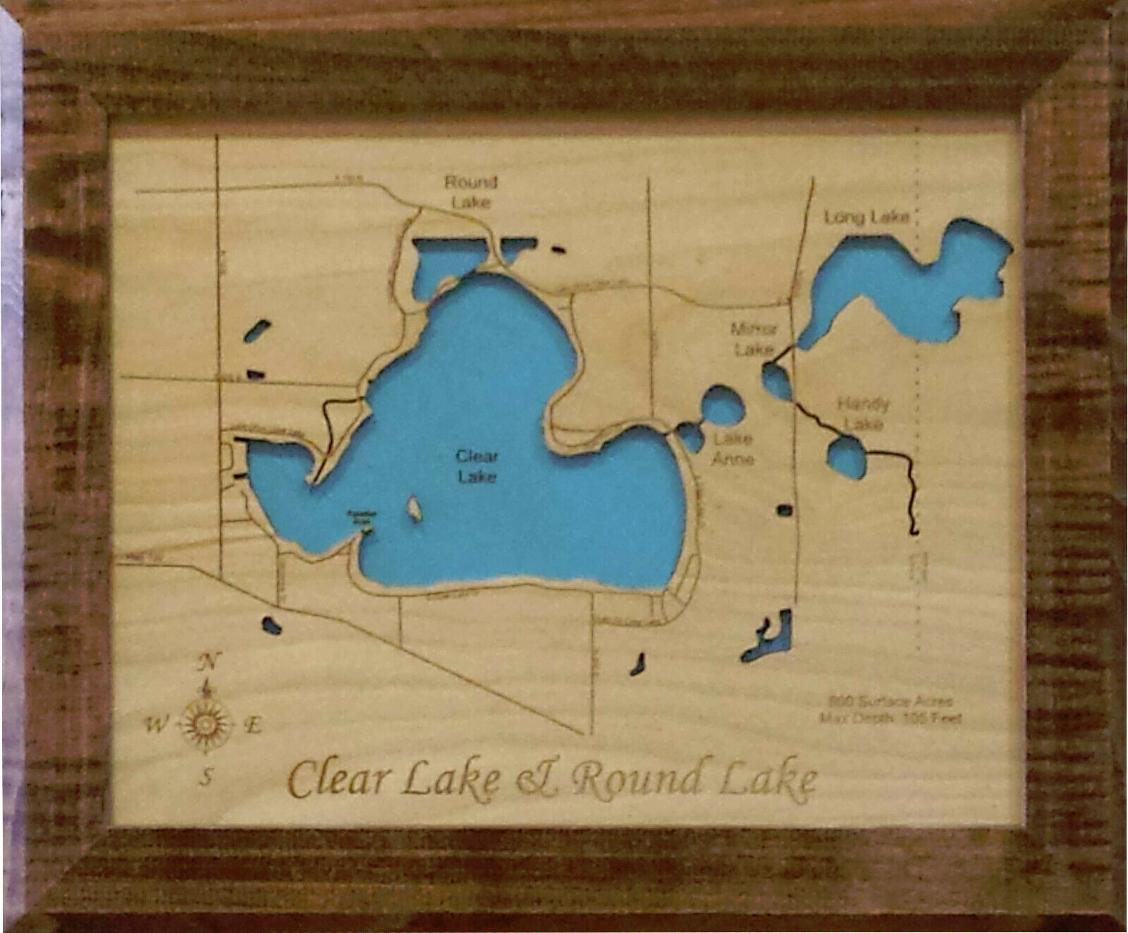 Wood Laser Cut Map of Round Lake and Clear Lake, Indiana