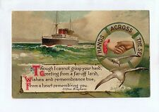 A9599cgt Greetings Hands Across The Sea i Cannot grasp your Hand vintag postcard