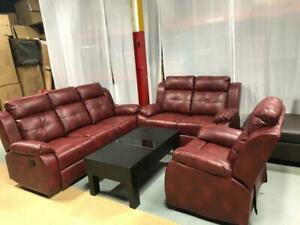 3 PCS REAL AIR LEATHER RECLINER SET(OPTION TO PAY ON DELIVERY) FINANCING AVAILABLE AT 0% INTEREST SO BUY NOW PAY LATER Belleville Area Preview
