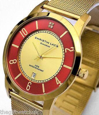Christin Lars DIAMOND Mens 24 Carat Gold Plated Dress Watch, Red Rim, Mesh Strap