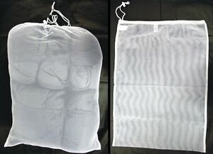 SET OF 2 NEW ARMY SURPLUS NET MESH LAUNDRY BAGS X LARGE 70x50 CM DRAWSTRING NECK
