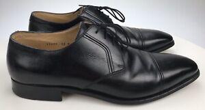 Men-s-12-M-GRAVATI-For-Bauman-Hand-Made-in-Italy-Black-Leather-Cap-Toe-Oxfords