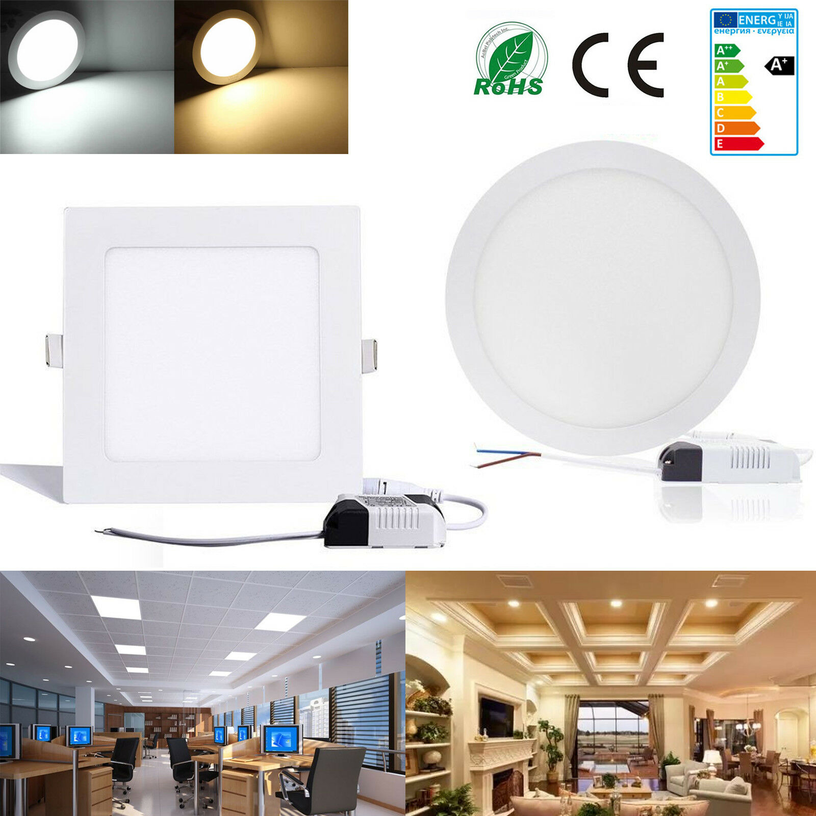 3W-24W Ultraslim Round Square Dimmable LED Recessed Ceiling Panel Light Fixture