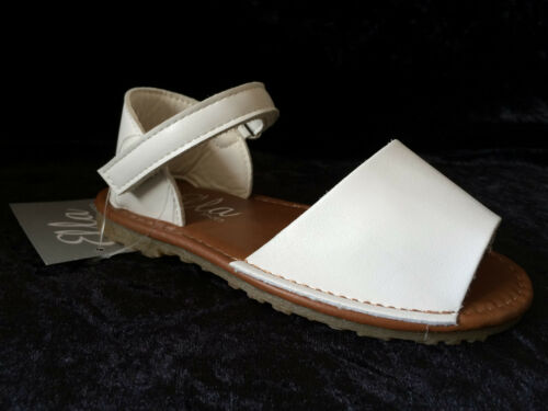 GIRLS SPANISH SANDALS WHITE-FAUX LEATHER MENORCAN SIZES 4-2 NEW-KIDS