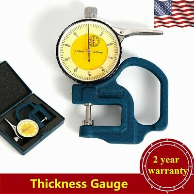 USADial Thickness Gauge 0.01mm Tester Meter Paper Leather Measuring Tool 0-10mm