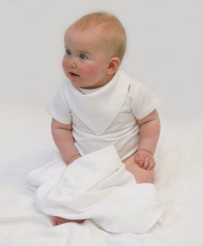6 Muslinz 6pk blanc mousseline carrés burp chiffons bib langes 100/% coton 70cm muzw