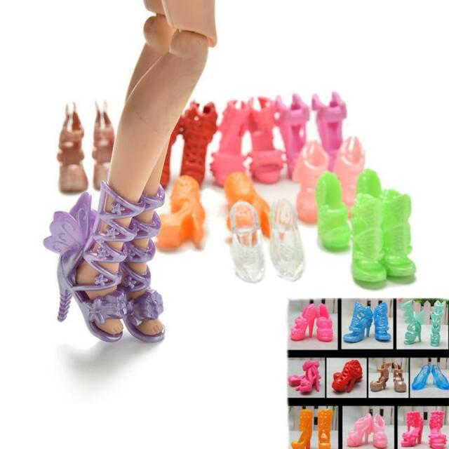 "20X/10 Pairs Fashion Shoes for 11"" s Dolls Fixed Styles Color Random  JR"