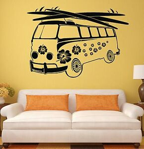 Details about Wall Sticker Hippie Vans Bus Mobil Art Mural Vinyl Decal (ig1934)