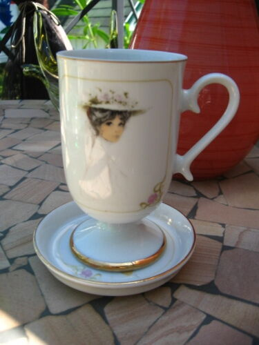 CHOCOLATE CUP & SAUCER ARTIST JOSEPHINE CURRIE 1976 ENESCO