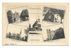 Simcoe-County-STAYNER-ONTARIO-multi-view-postcard-showing-various-churches