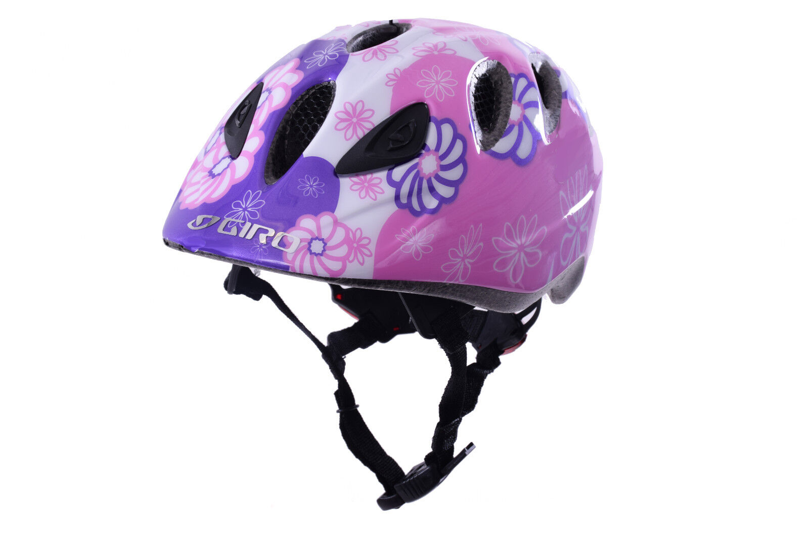 GIRO RASCAL KIDS GIRLS CRASH HELMET BUILT IN LED LIGHTS 50-54cm PINK FLOWERS