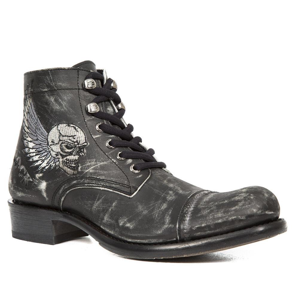 Newrock New Gy31-S1 Hombre Vintage Negro Cuero botas Biker ala cráneo