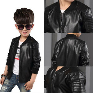 New Toddler Kids Boys Leather jackets Slim Motorcycle ...
