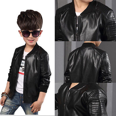 5dc0f4c917c0 New Toddler Kids Boys Leather jackets Slim Motorcycle Leather Biker ...