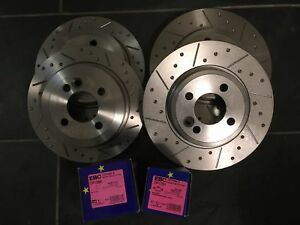 Mini-R53-Cooper-S-Grooved-Brake-Discs-amp-EBC-UltiMAX-Pads-Fnt-Rear