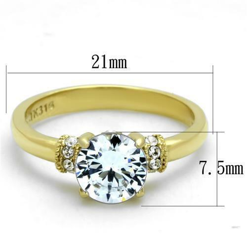 Brilliant 1.28ct Round Cubic Zircon CZ AAA Gold Plated Engagement Ring TK1877