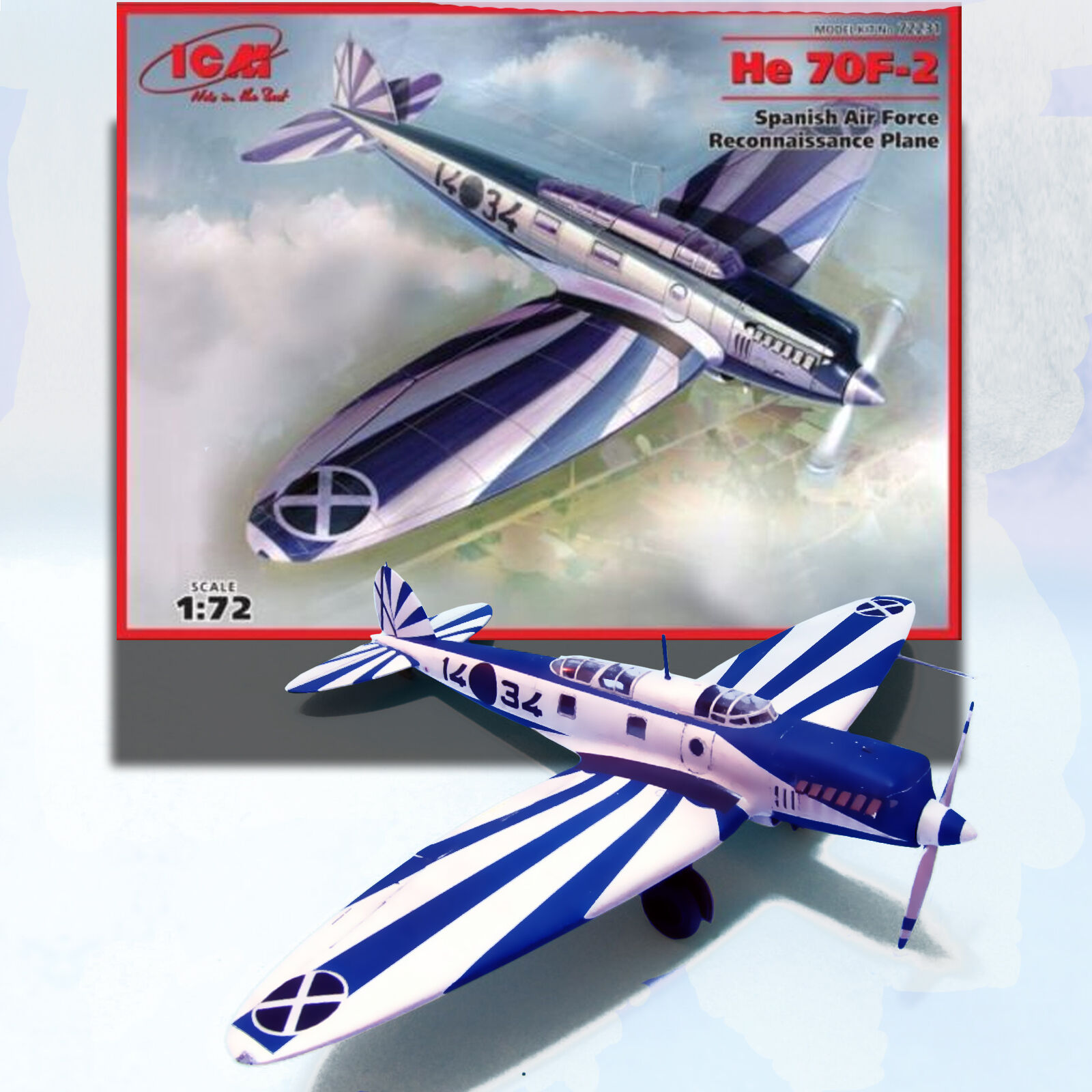 ICM 1 72 HEINKEL HE 70F-2 'SPANISH AIR FORCE RECON PLANE' KIT 72231