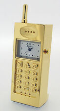 Novelty Miniature Mobile Phone Clock in Gold Tone