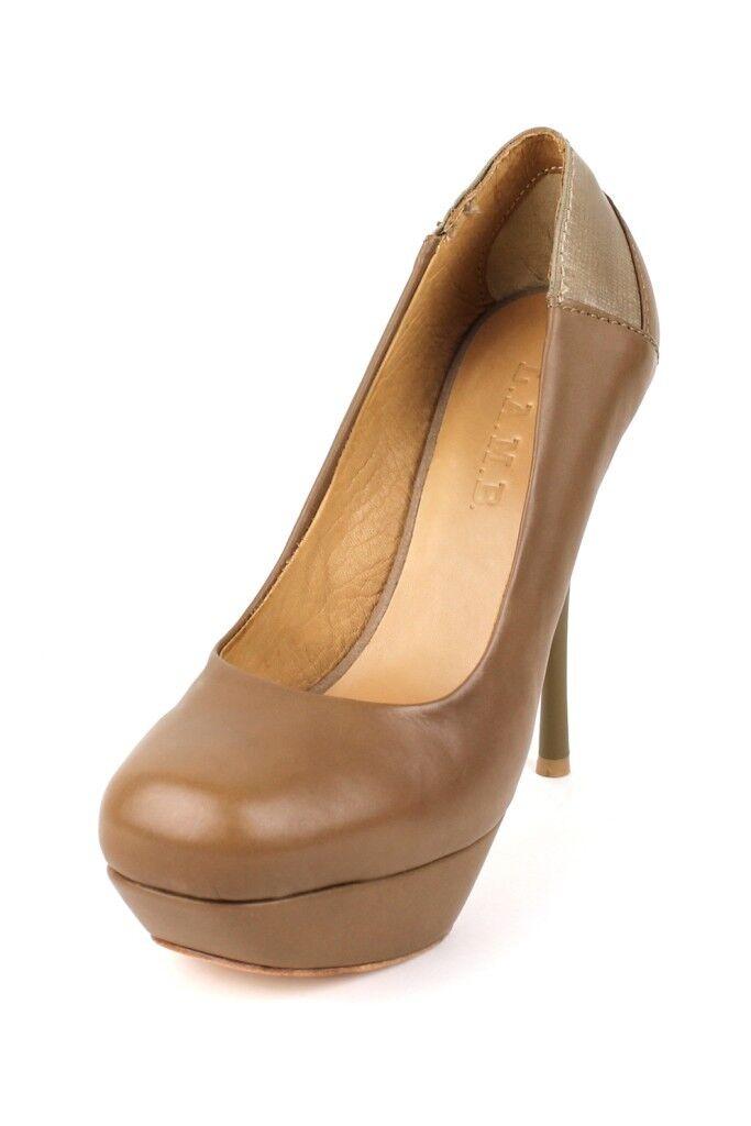 Designer L.A.M.B. Gwen Stefani Batista Beige Shoes Leather Platform Pumps LAMB