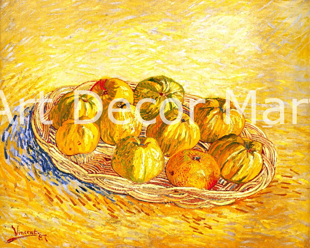 Still Life Basket Of Apples-Van Gogh - CANVAS OR PRINT WALL ART