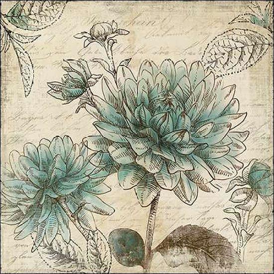 Aimee Wilson  Blau Botanical II Keilrahmen-Bild Leinwand Blaumen Botanik floral