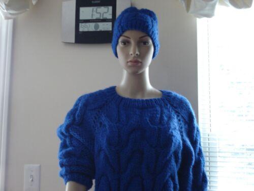 M Xl Unisex trui dikke handgebreide L wollen Blauwe Pullover wqa7fxWCn