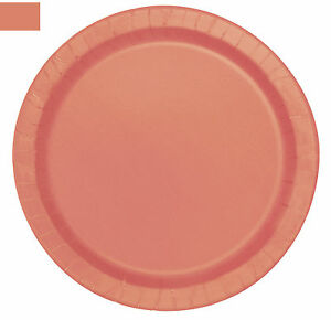 Image is loading 20-x-Coral-Peach-Paper-Plates-18cm-Coral-  sc 1 st  eBay & 20 x Coral Peach Paper Plates 18cm Coral Wedding Plates Tableware ...