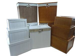 Details zu Holz Braun Weiß Kinder Spielzimmer Spielzeug Truhe Box  Badezimmer Wäschekorb