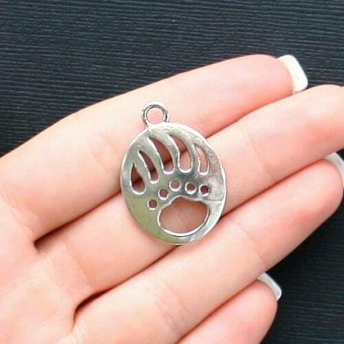 SC1137 BULK 10 Bear Claw Charms Antique Silver Tone Large Size