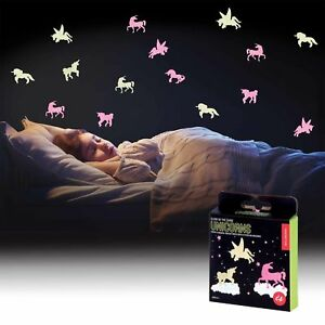 Glow-In-The-Dark-24-UNICORN-Stickers-Luminous-Kids-Bedroom-Nursery-Ceiling-Wall